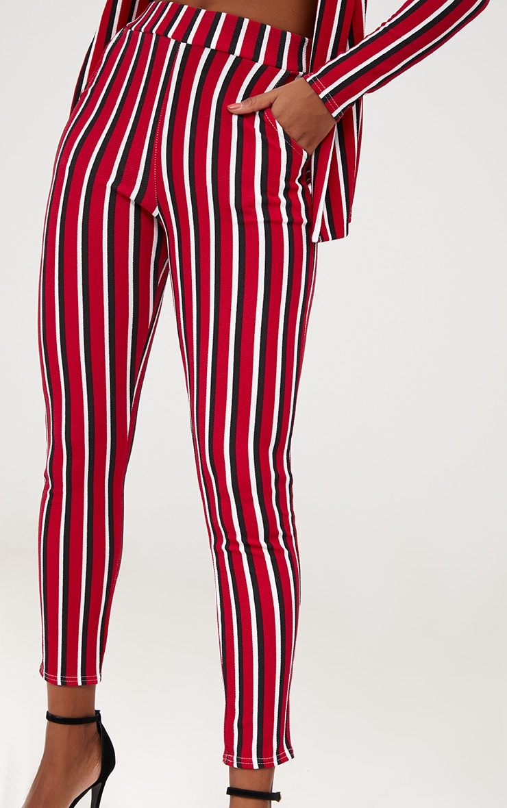 Red Vertical Stripe Skinny Trousers 5