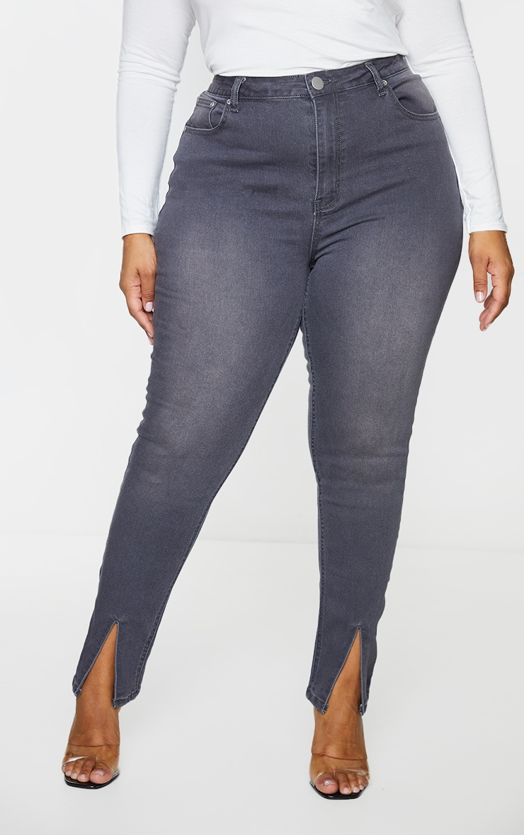 Plus Washed Grey Split Front Skinny Jeans 2