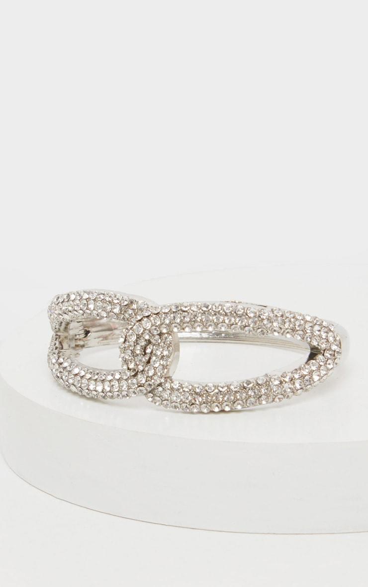 Silver Diamante Link Cuff 2