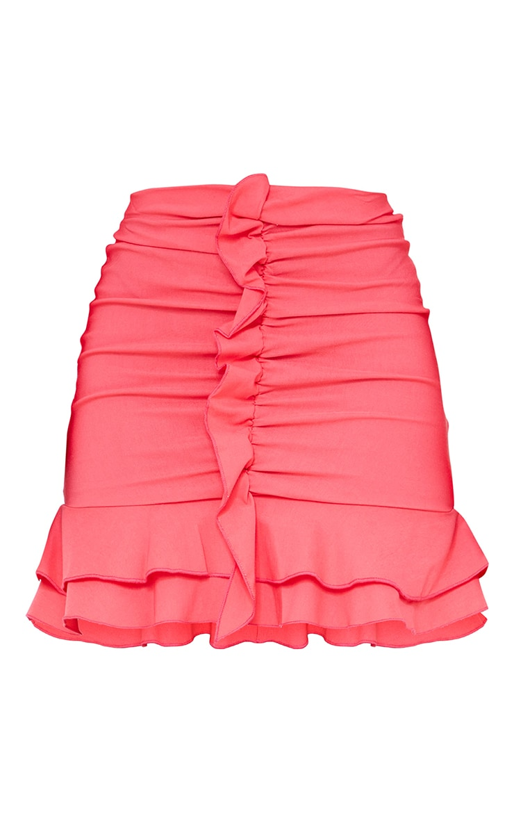 Hot Pink Woven Stretch Frill Front Mini Skirt 6