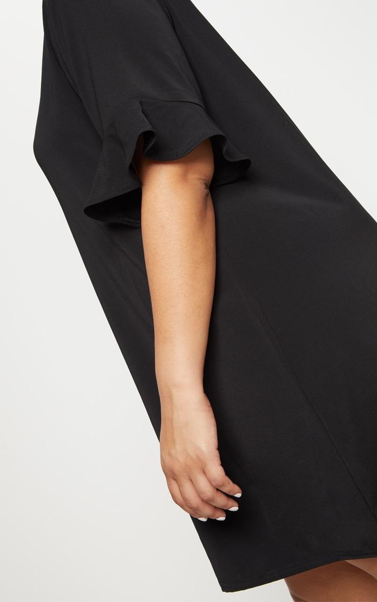 Plus Black Button Through Frill Sleeve Dress 5