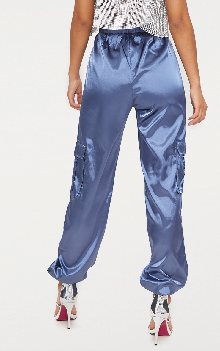 Powder Blue Satin Cargo Trousers 4