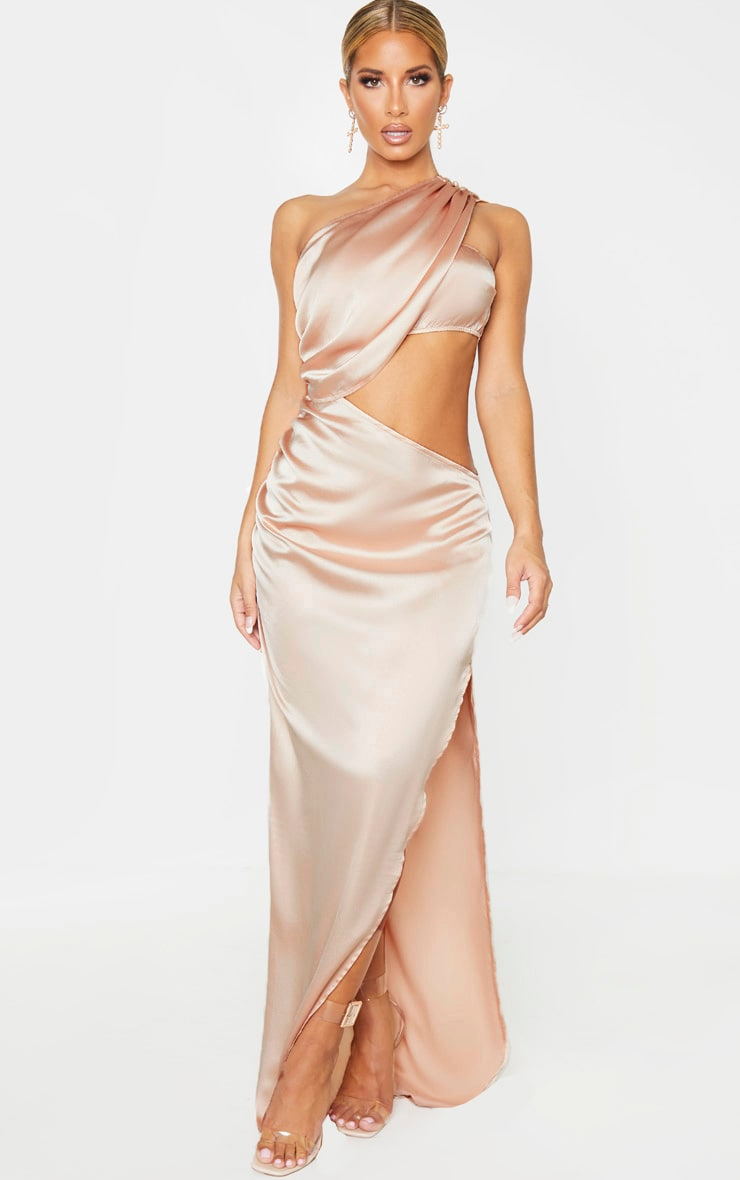 Champagne One Shoulder Cut Out Satin Maxi Dress 1
