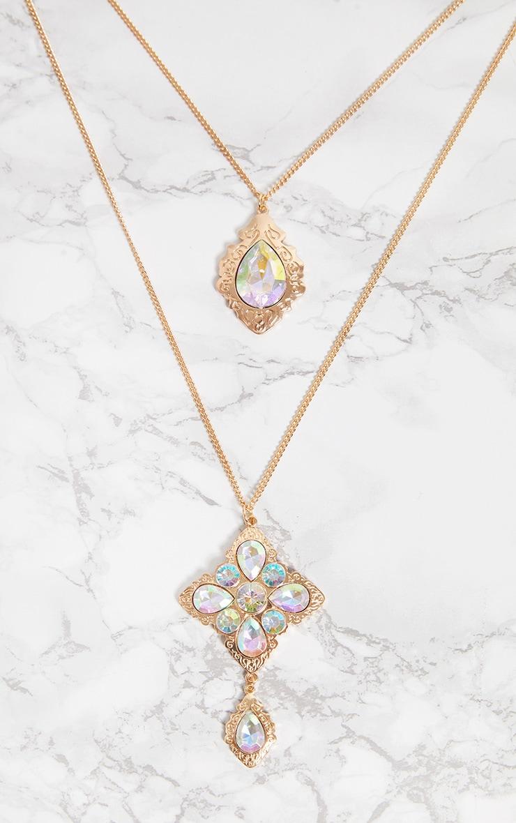 Gold Iridescent Diamante Square Double Layer Necklace 3