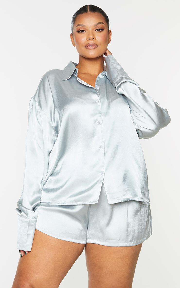 Plus Blue Long Sleeve Shorts Satin PJ Set 3