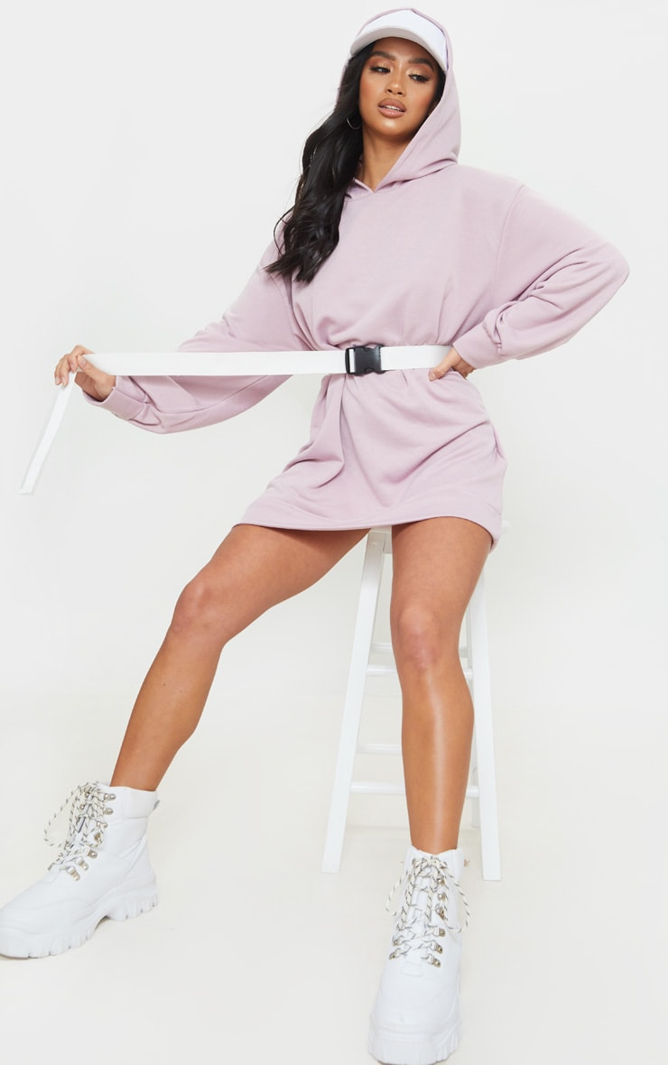 Petite Lilac Oversized Hoodie Sweater Dress 3