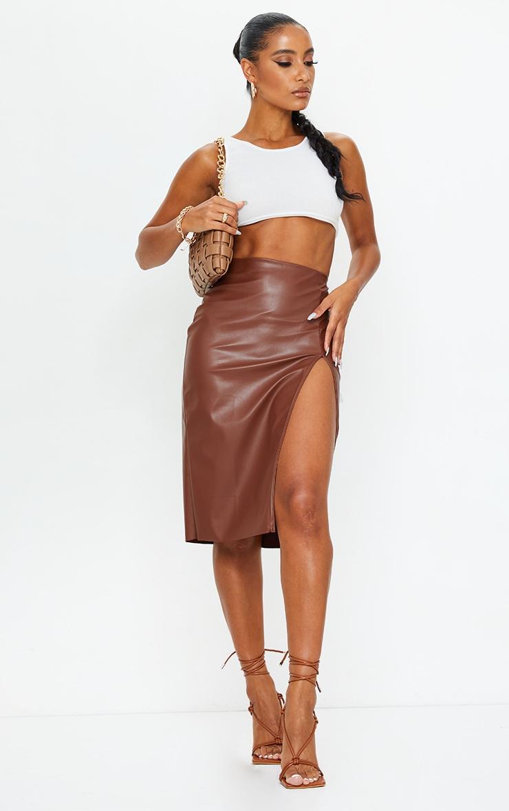 Chocolate Faux Leather Split Detail Midi Skirt 1