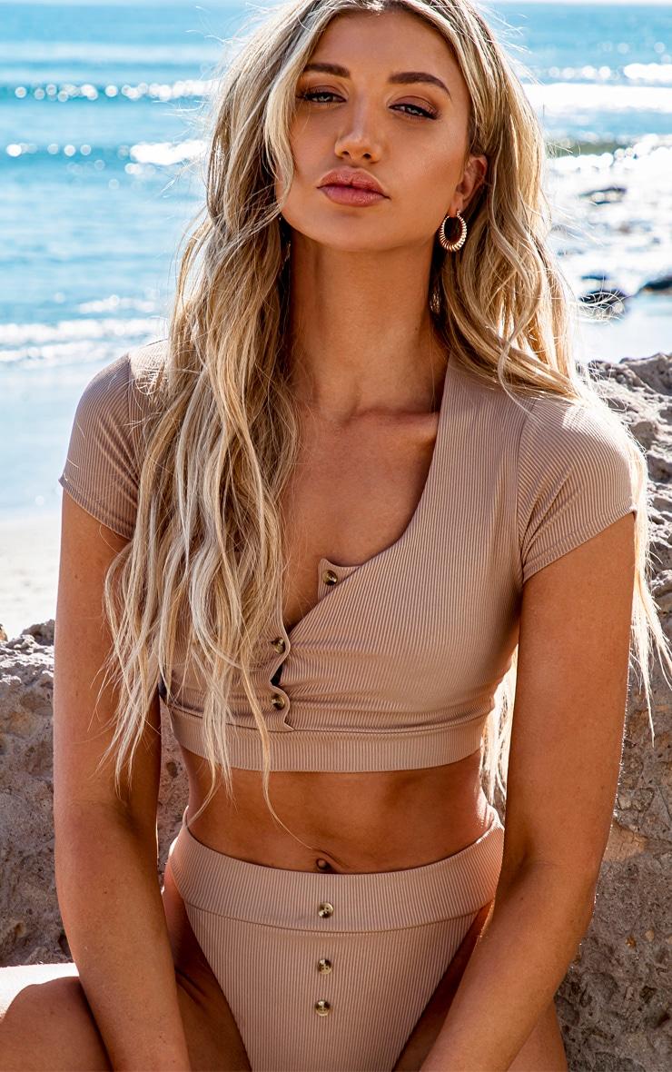 Taupe Ribbed Short Sleeve Bikini Top