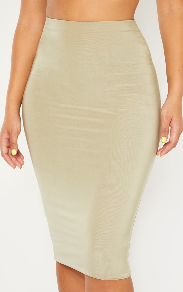 Sage Green Second Skin Slinky Midi Skirt 5