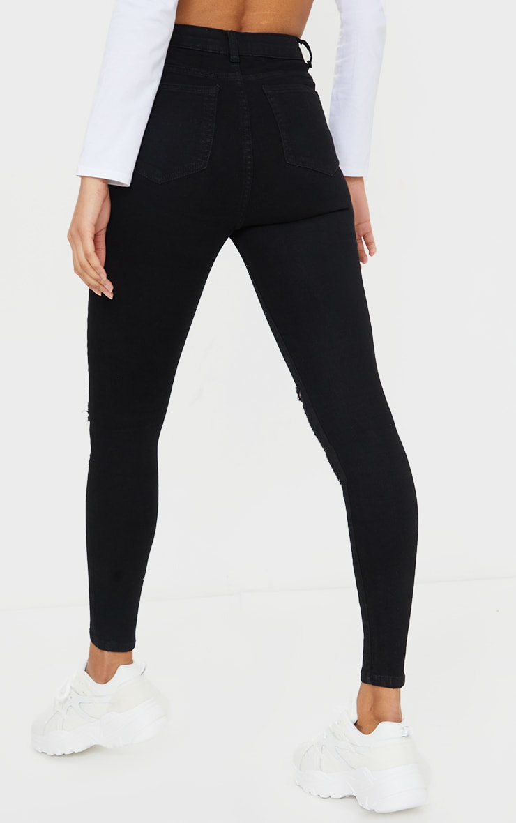 PRETTYLITTLETHING Black Distressed 5 Pocket Skinny Jean 3