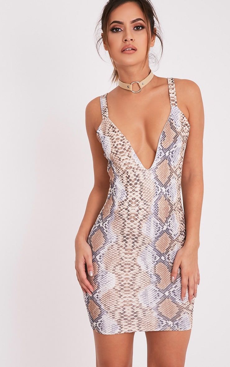 Korel Taupe Snake Print Plunge Bodycon Dress 1