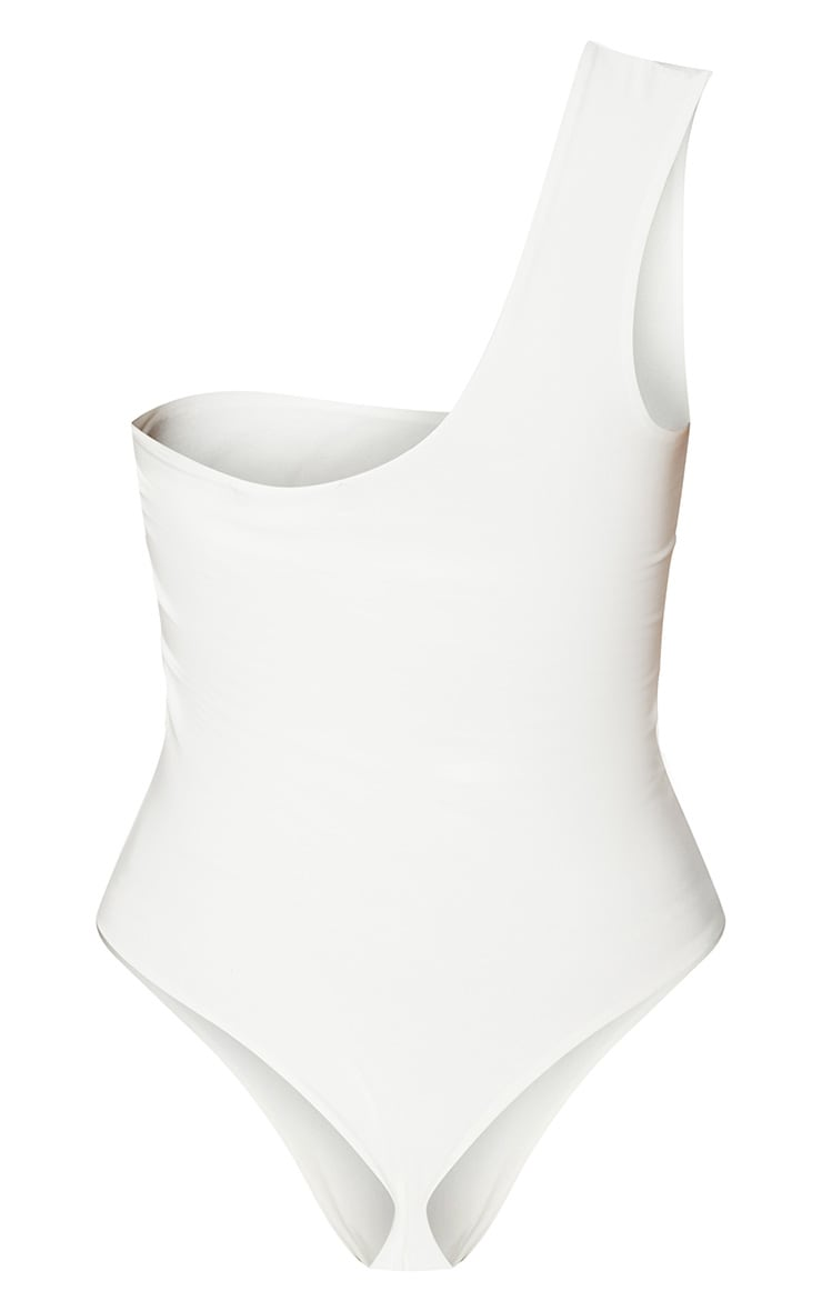 White Slinky One Shoulder Cut Out Bodysuit 3