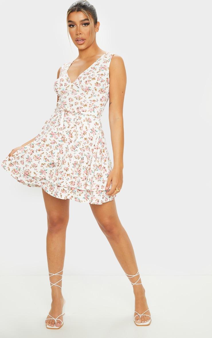White Floral Print Tie Skater Dress 3