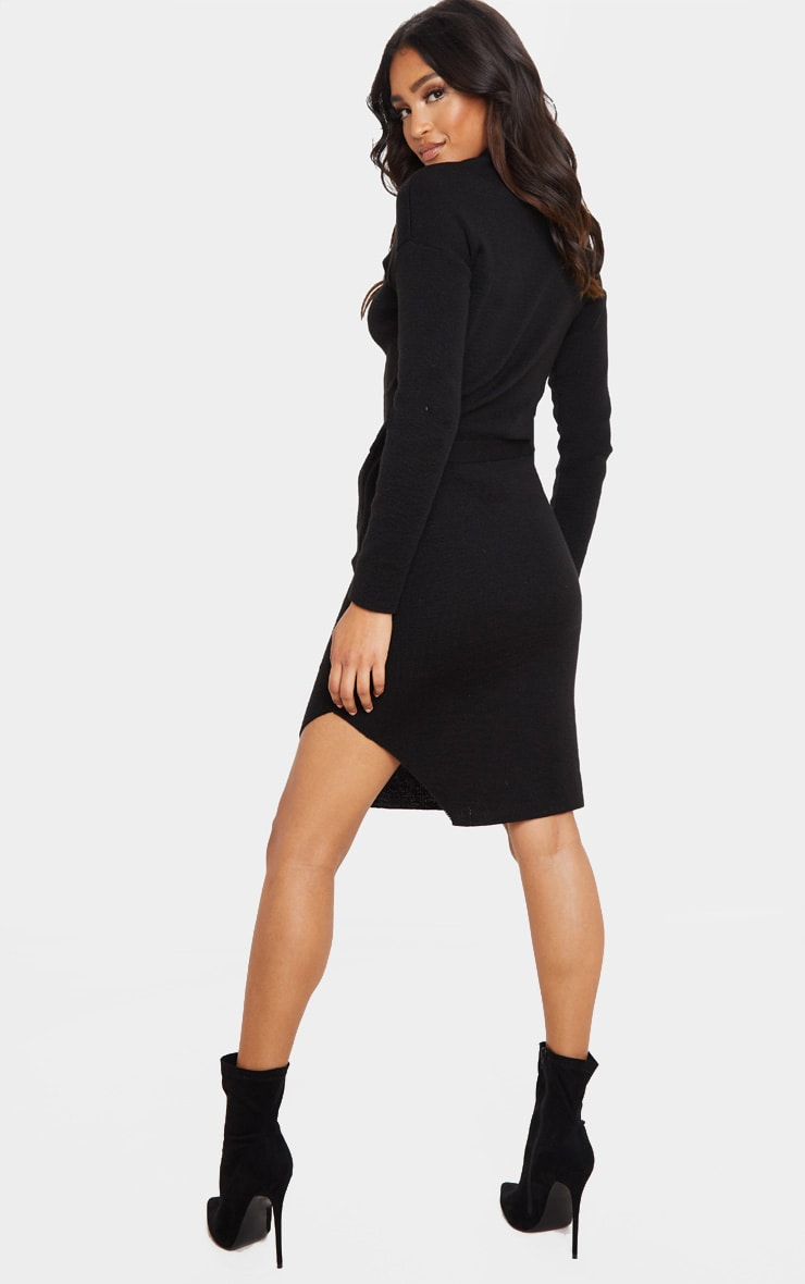 Black Roll Neck Belted Knitted Sweater Dress 2