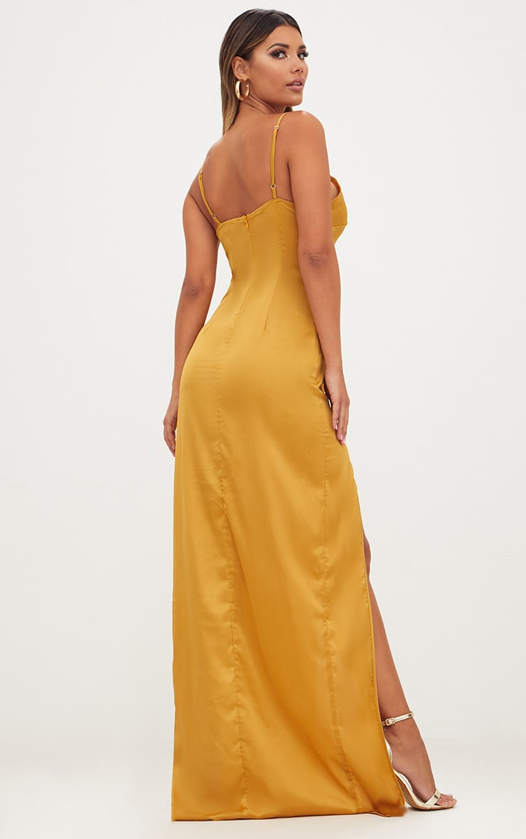 Mustard Satin Strappy Side Split Maxi Dress 2