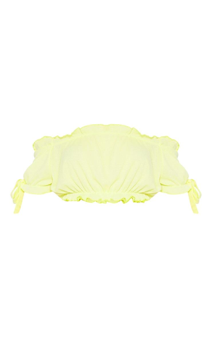 Lemon Bardot Bow Sleeve Jersey Crop Top 3