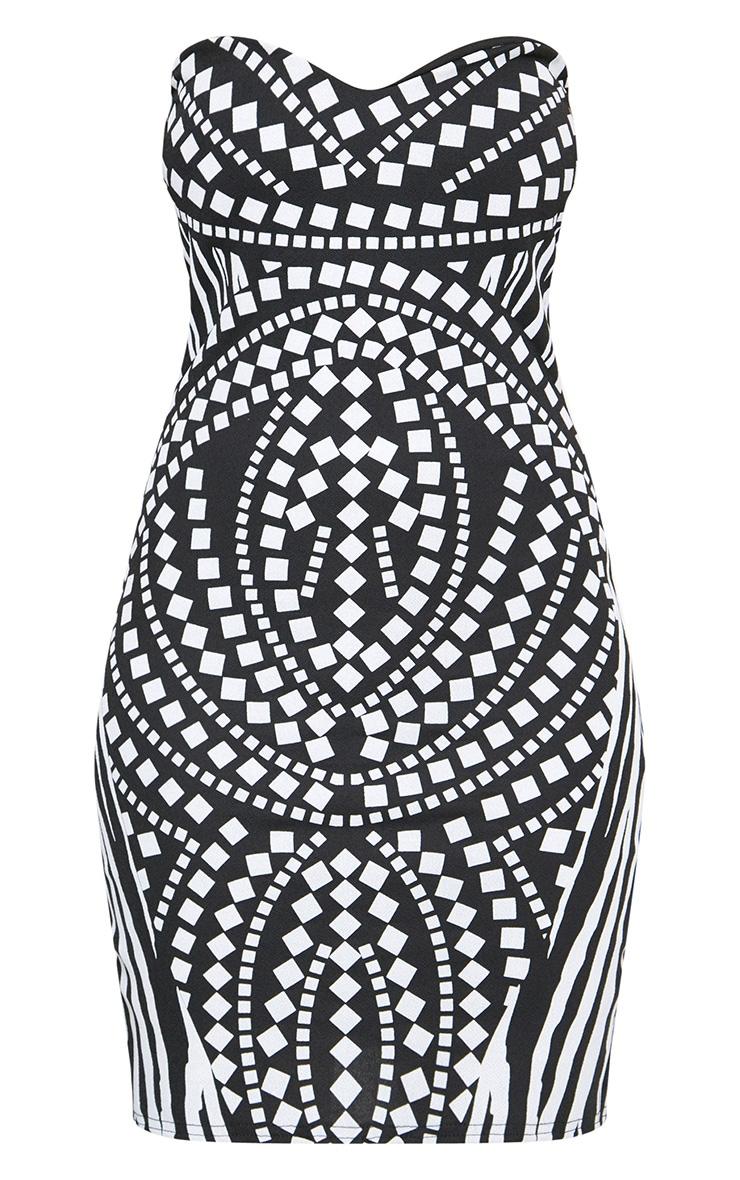 Black Mosiac Puff Print Bandeau Bodycon Dress 3