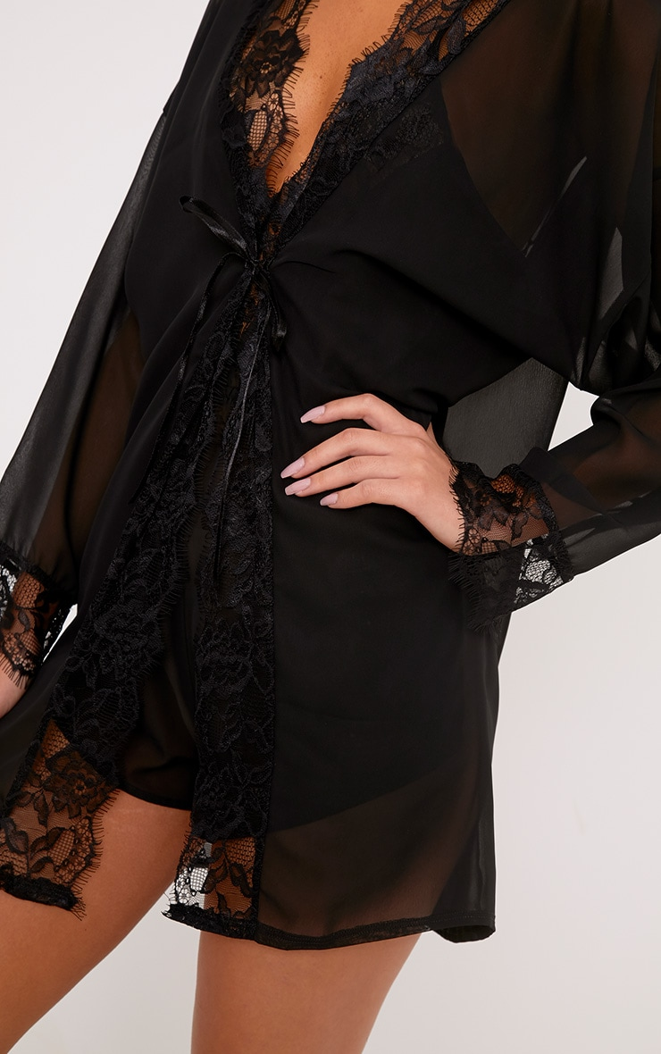 Hazel Black Chiffon Short Dressing Gown 5