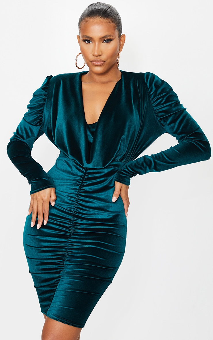 Emerald Green Velvet Cowl Ruched Long Sleeve Midi Dress 1
