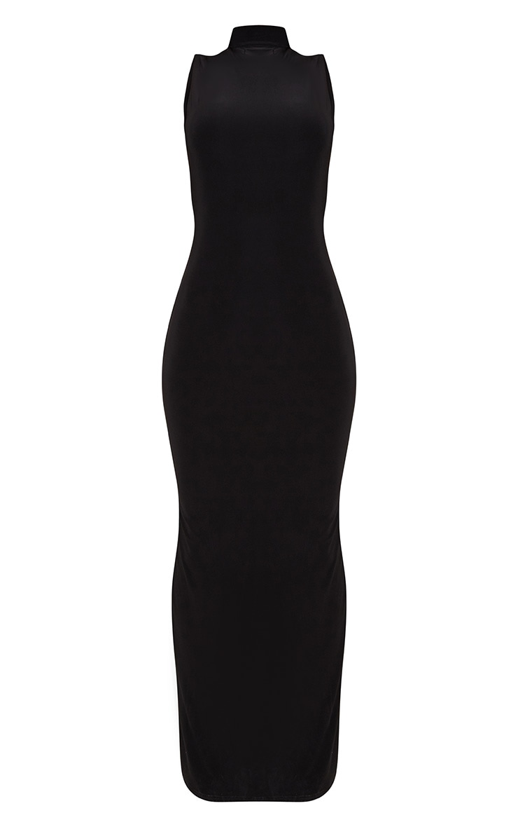 Black Slinky Cut Out Back Maxi Dress 3