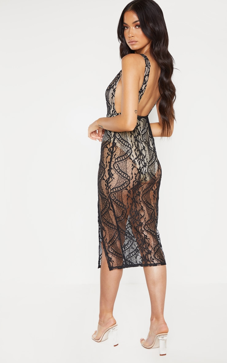 Black Lace Plunge Open Back Midi Dress 2