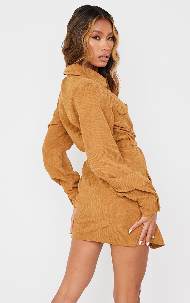 Camel Pocket Detail Popper Tie Waist Cord Shirt Dress 2