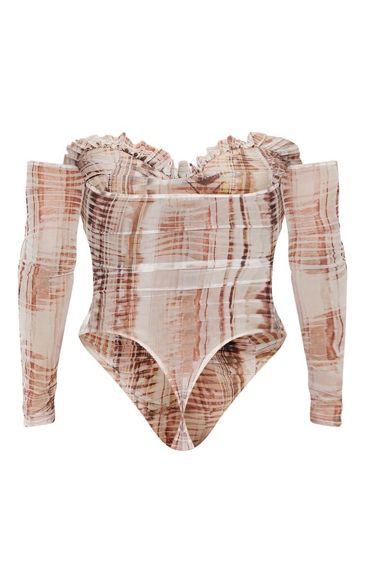 Stone  Abstract Print Mesh Ruched Bardot Bodysuit 6