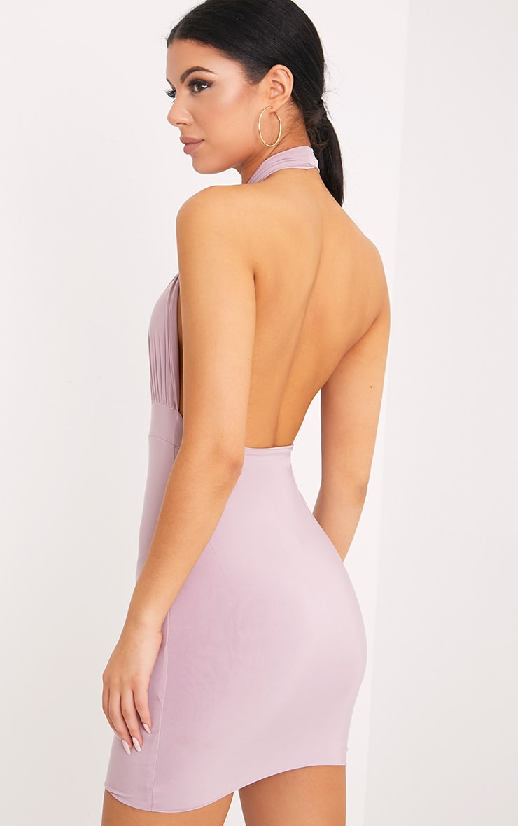Marisa Mauve Cross Front Mini Dress 2