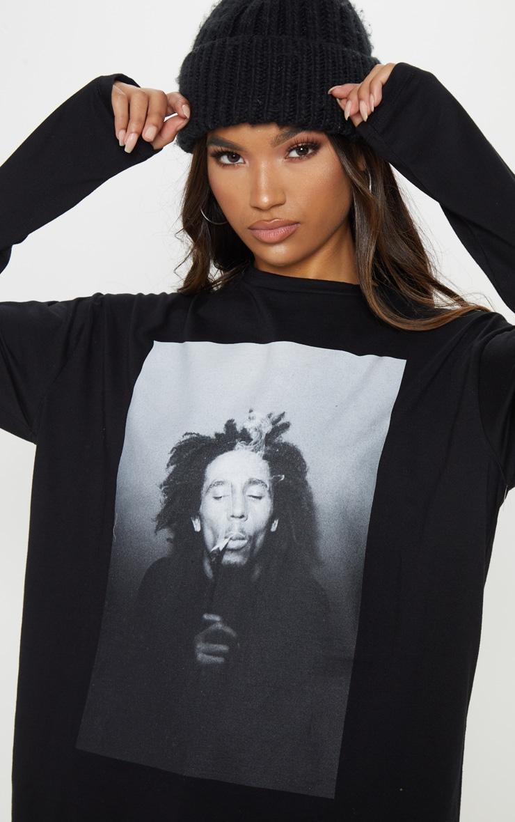 Bob Marley Slogan Black Oversized Long Sleeve T Shirt Dress 5