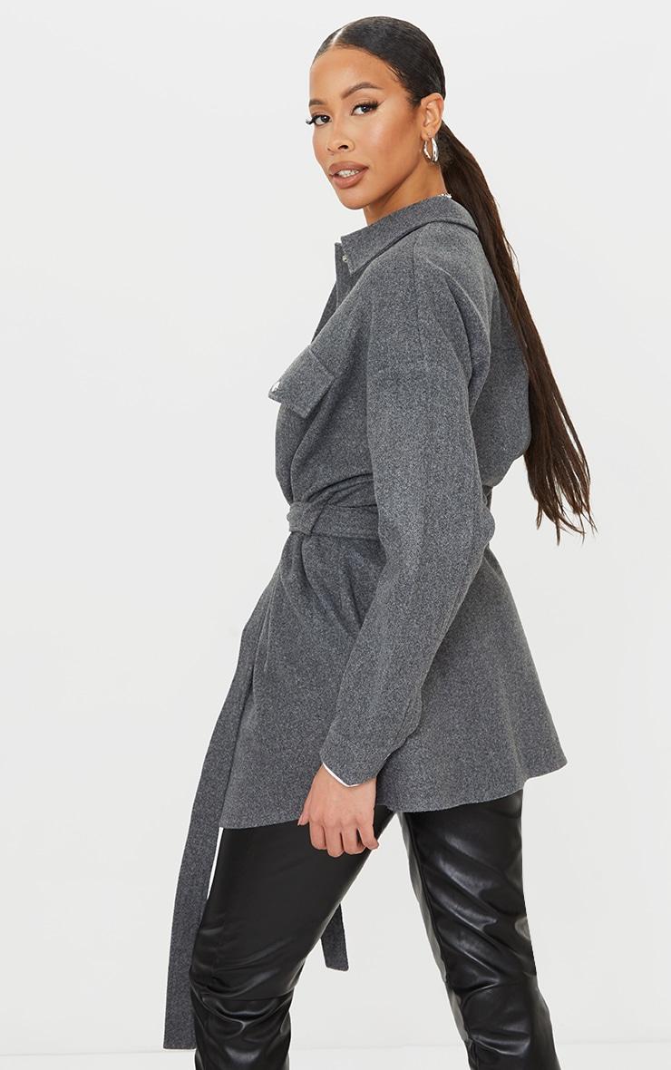 Tall Grey Oversized Wrapped Shacket 2