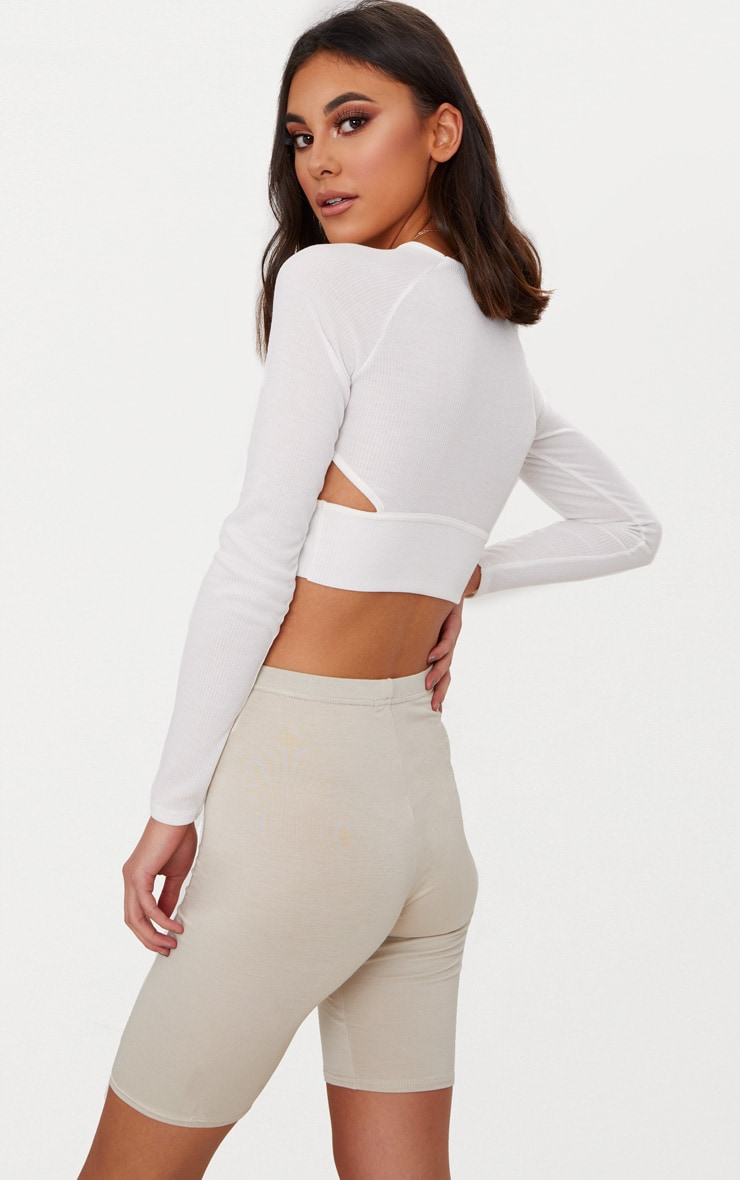 White Long Sleeve Rib Cut Out Side Crop Top  2