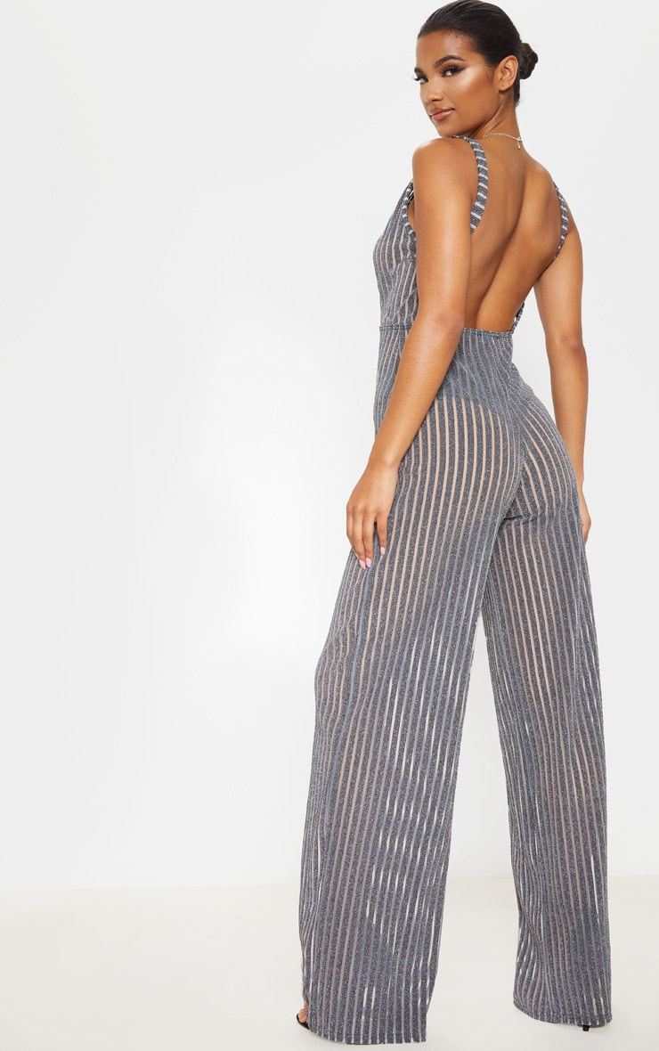 Silver Striped Glitter Plunge Jumpsuit 2