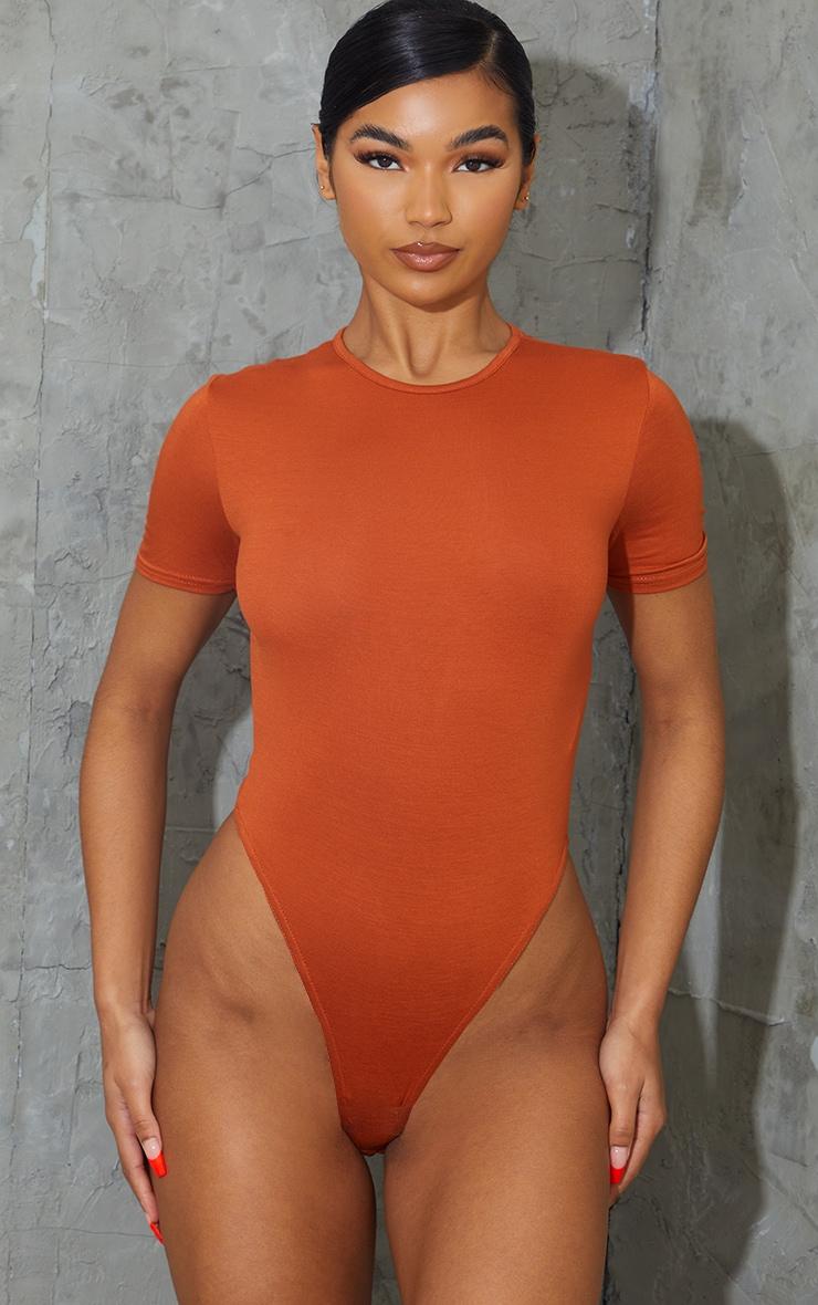 Rust Crew Neck Short Sleeve Bodysuit 2