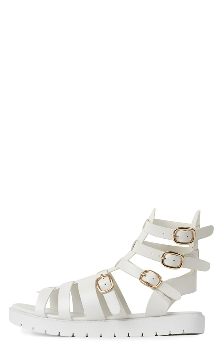 Kinsley White Gladiator Sandals With Cleated Sole  1