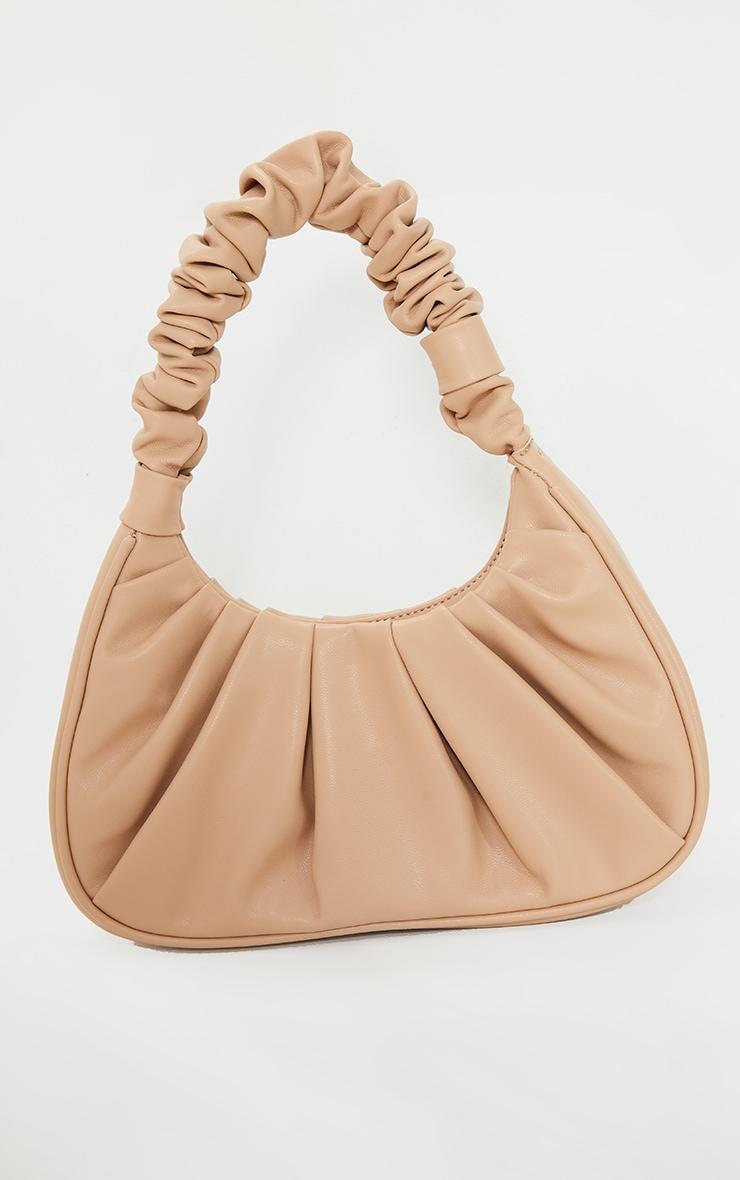 Tan Rouched Handle Shoulder Bag 2