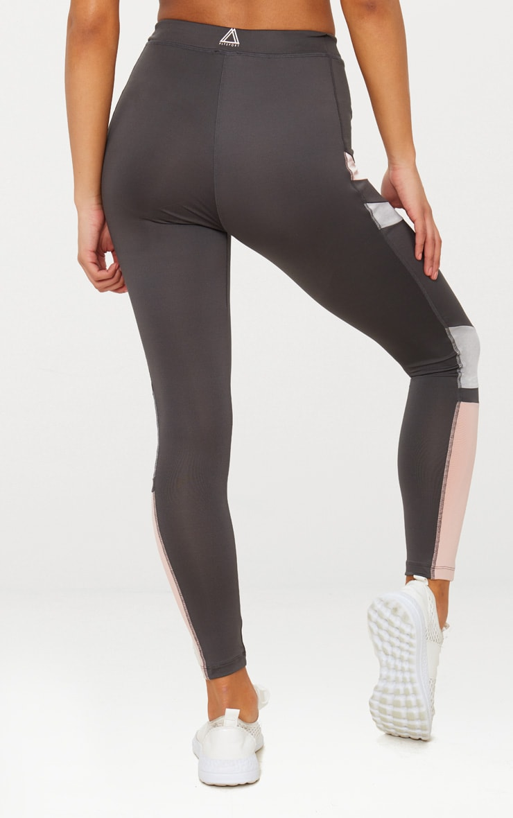 Charcoal Colour Block Panel Sports Leggings 4