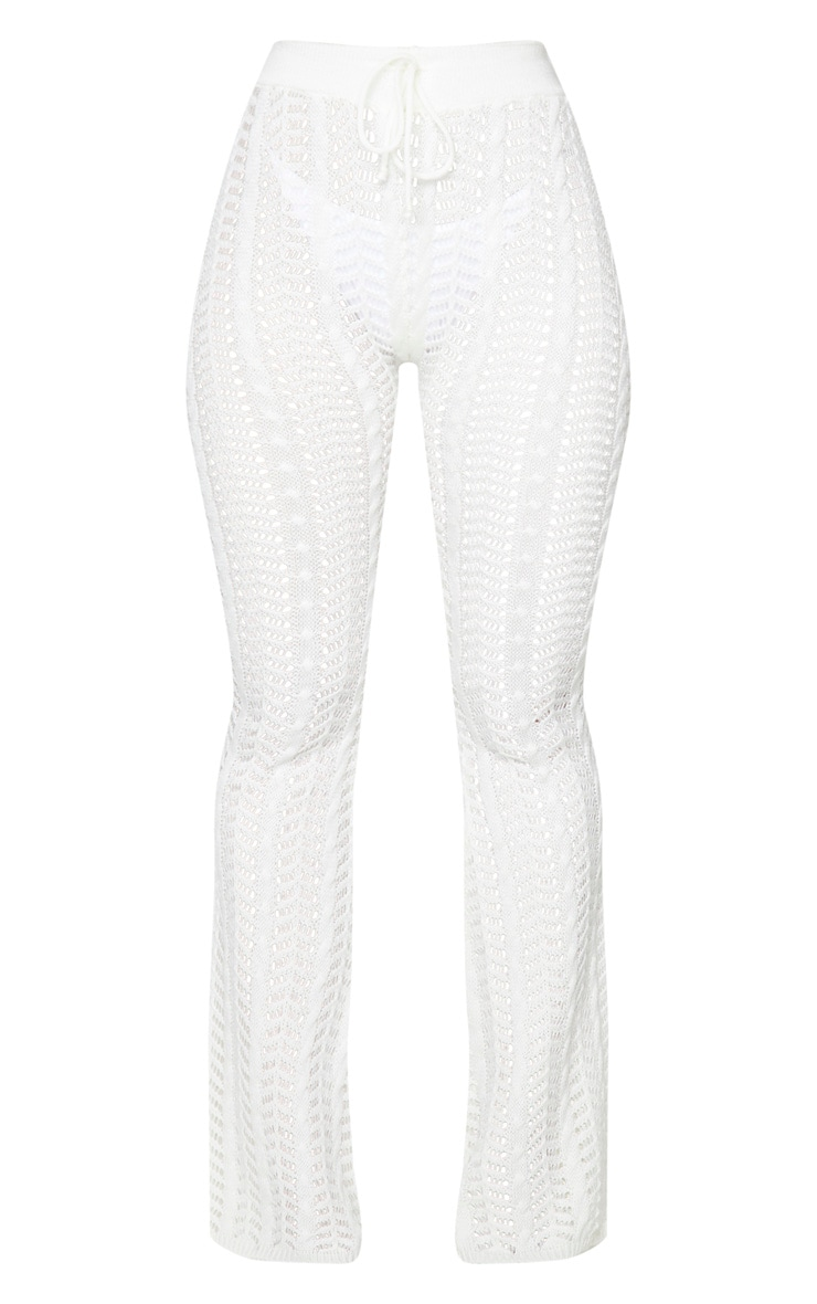 Cream Open Pointelle Cable Knitted Beach Pants 5