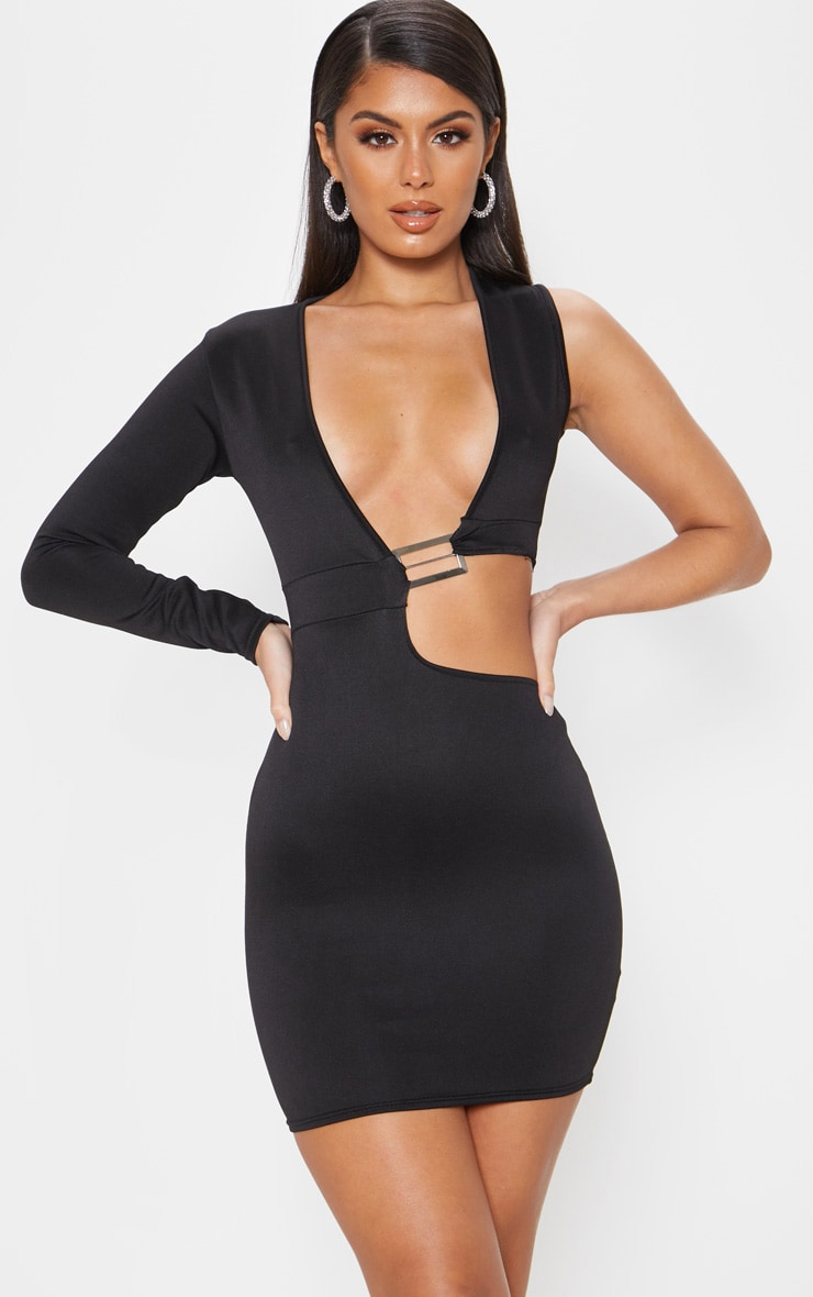 Black Plunge One Shoulder Buckle Detail Cut Out Bodycon Dress 1