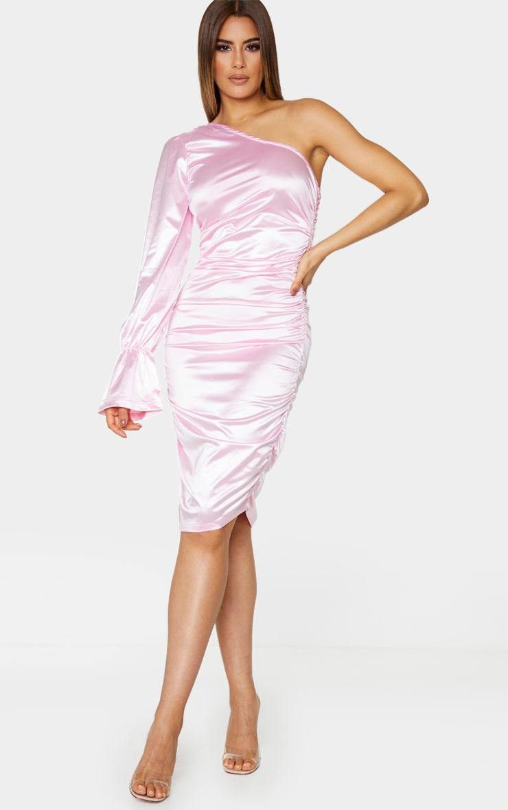 Tall Pink One Shoulder Satin Ruched Side Midi Dress 1