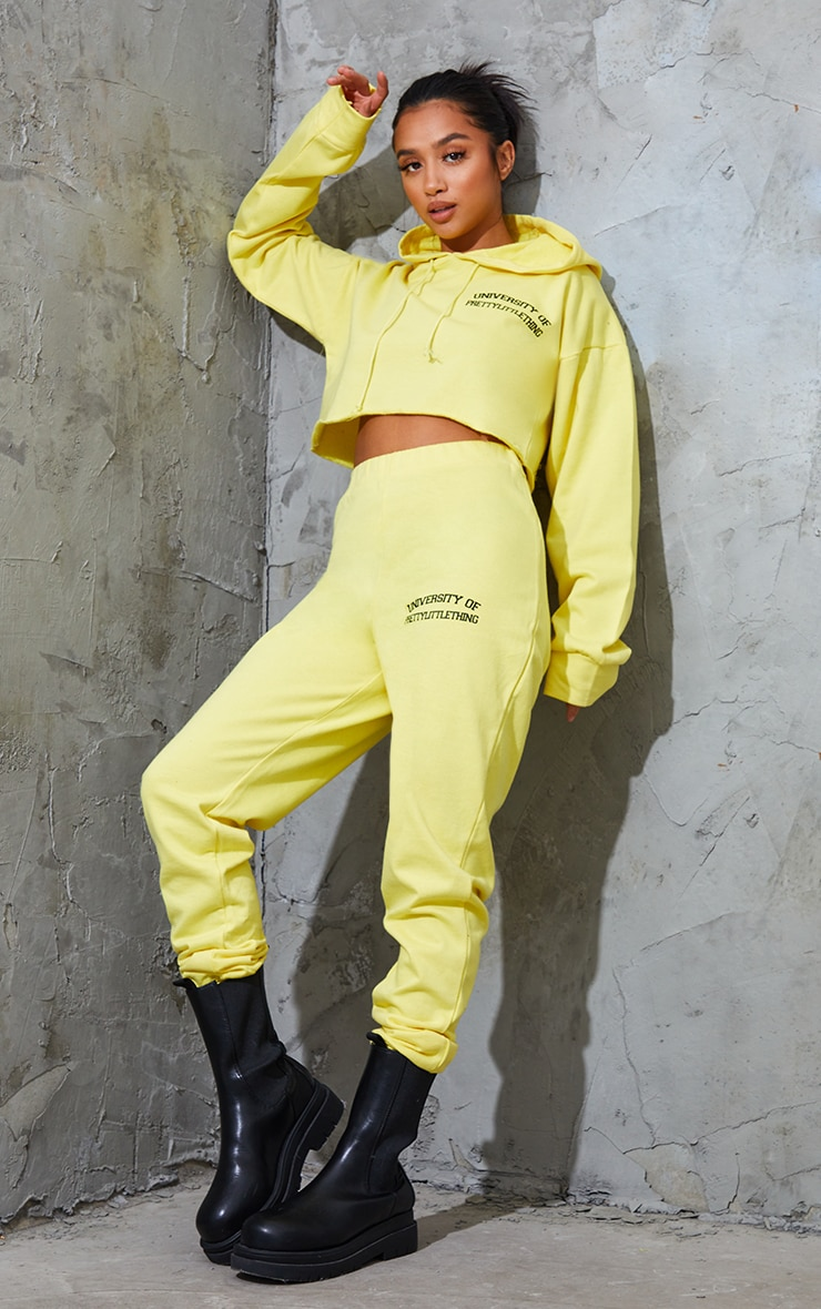 PRETTYLITTLETHING Petite Yellow Joggers 1