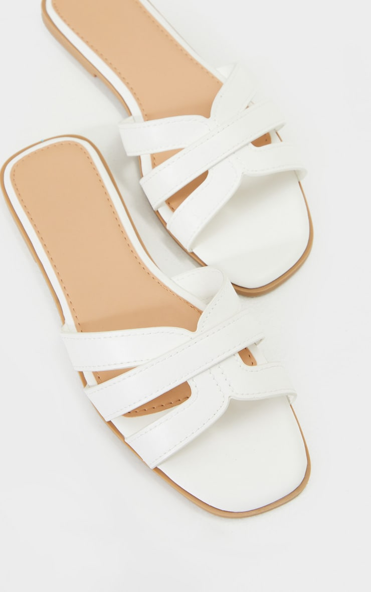 White Cross Strap Mule Flat Sandals 4