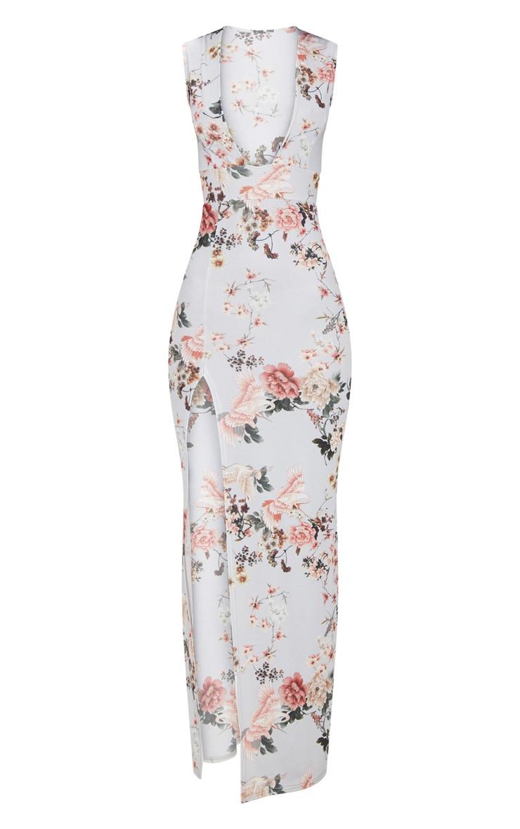 Grey Floral Print Extreme Plunge Split Detail Maxi Dress 3