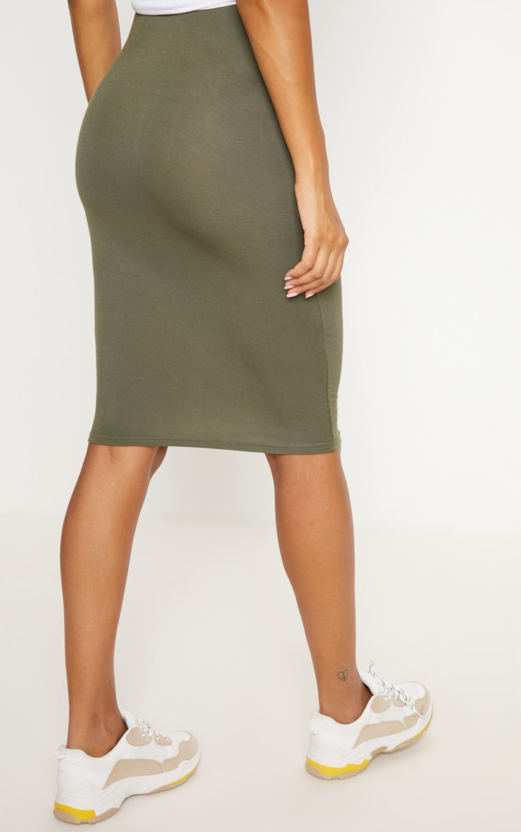 Basic Black & Khaki Jersey Midi Skirt 2 Pack 7