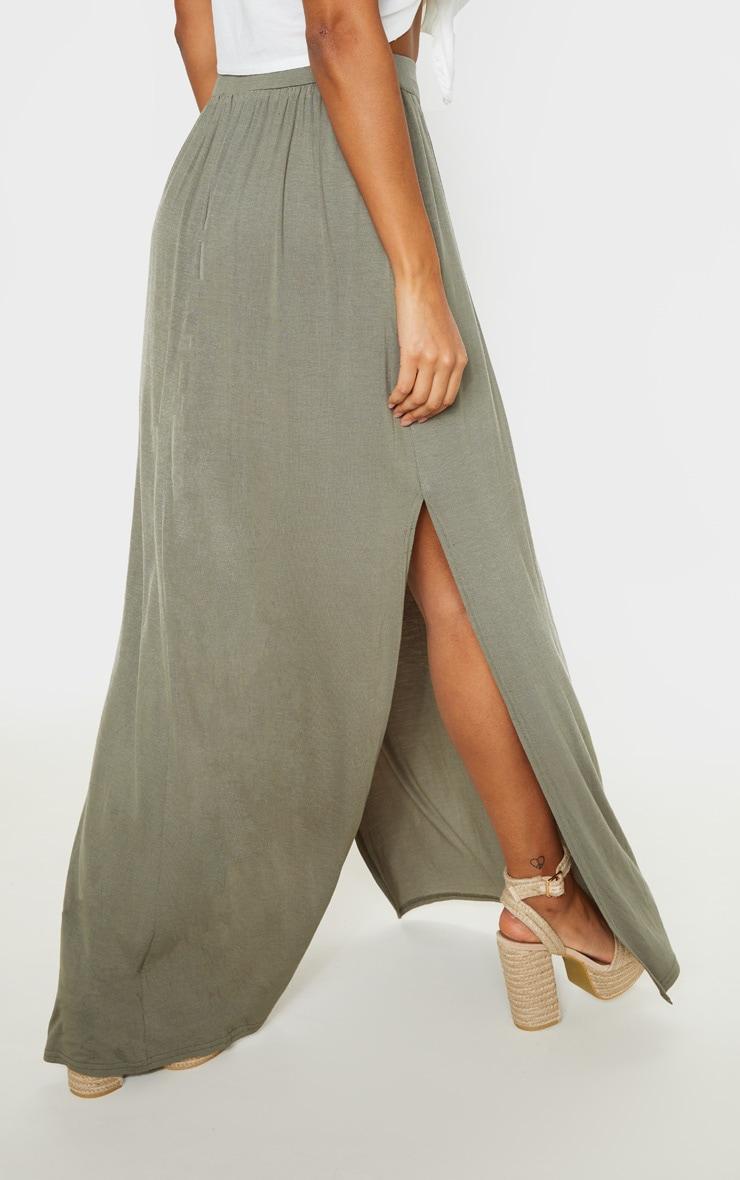 Olive Jersey Drawstring Maxi Skirt 4
