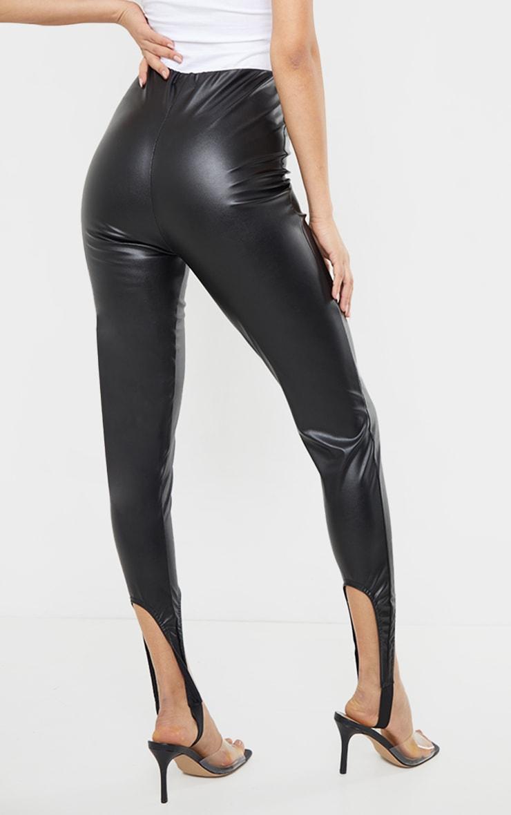 Black Faux Leather Stirrup Leggings 3