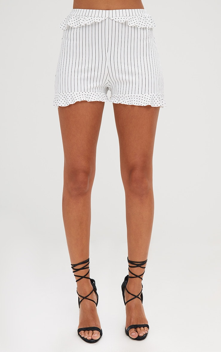 Cream Contrast Frill Stripe Shorts 2
