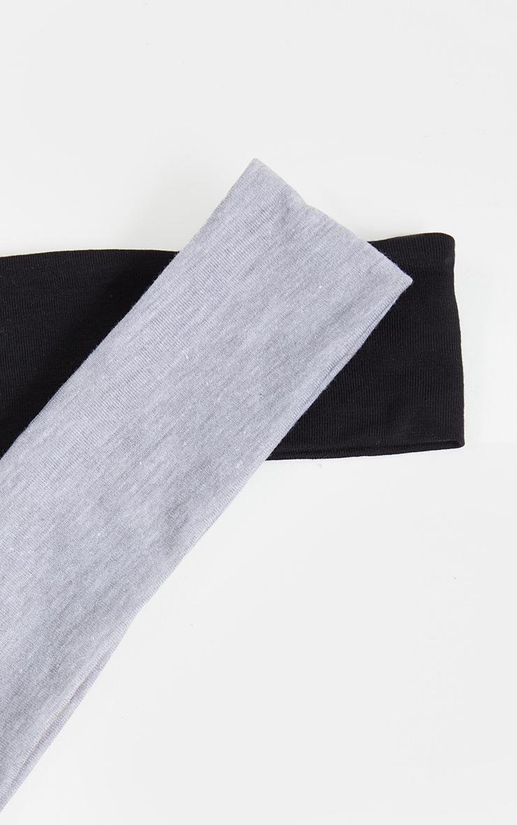 Lot de 2 bandeaux à cheveux basiques - Noir & Gris 3