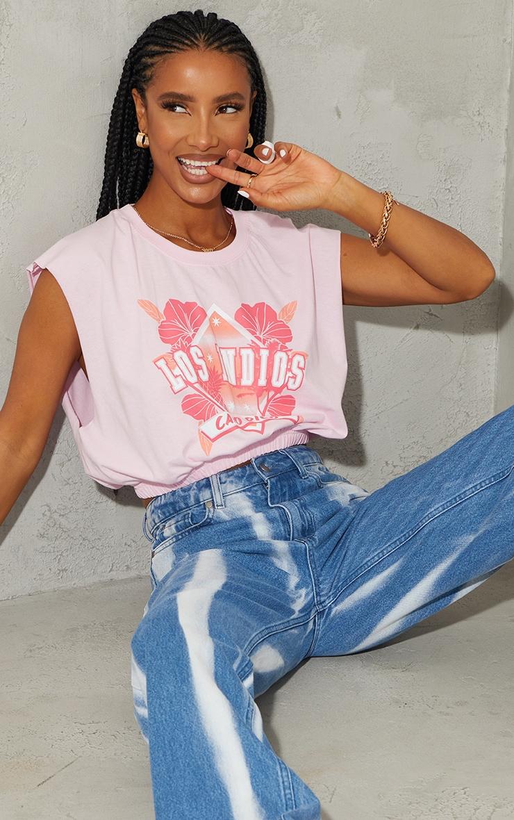 Baby Pink Print Elastic Hem Crop Vest 1