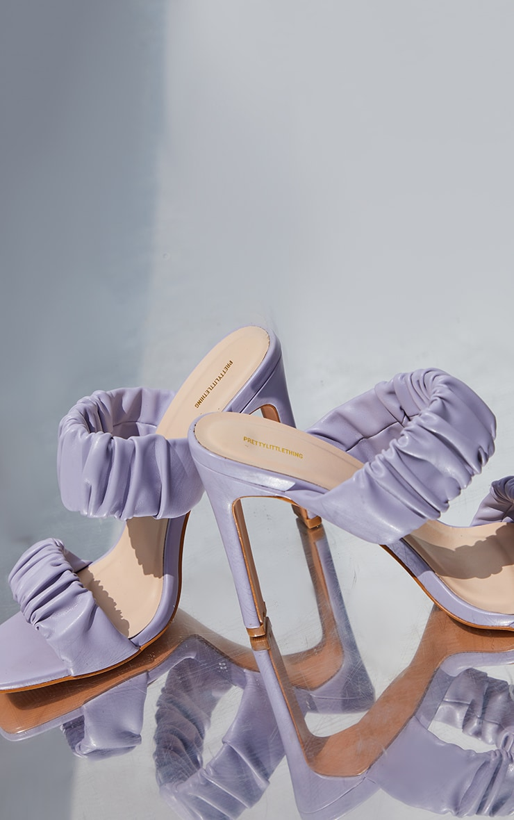 Lilac Ruched Twin Strap Flat High Heeled Mules 3