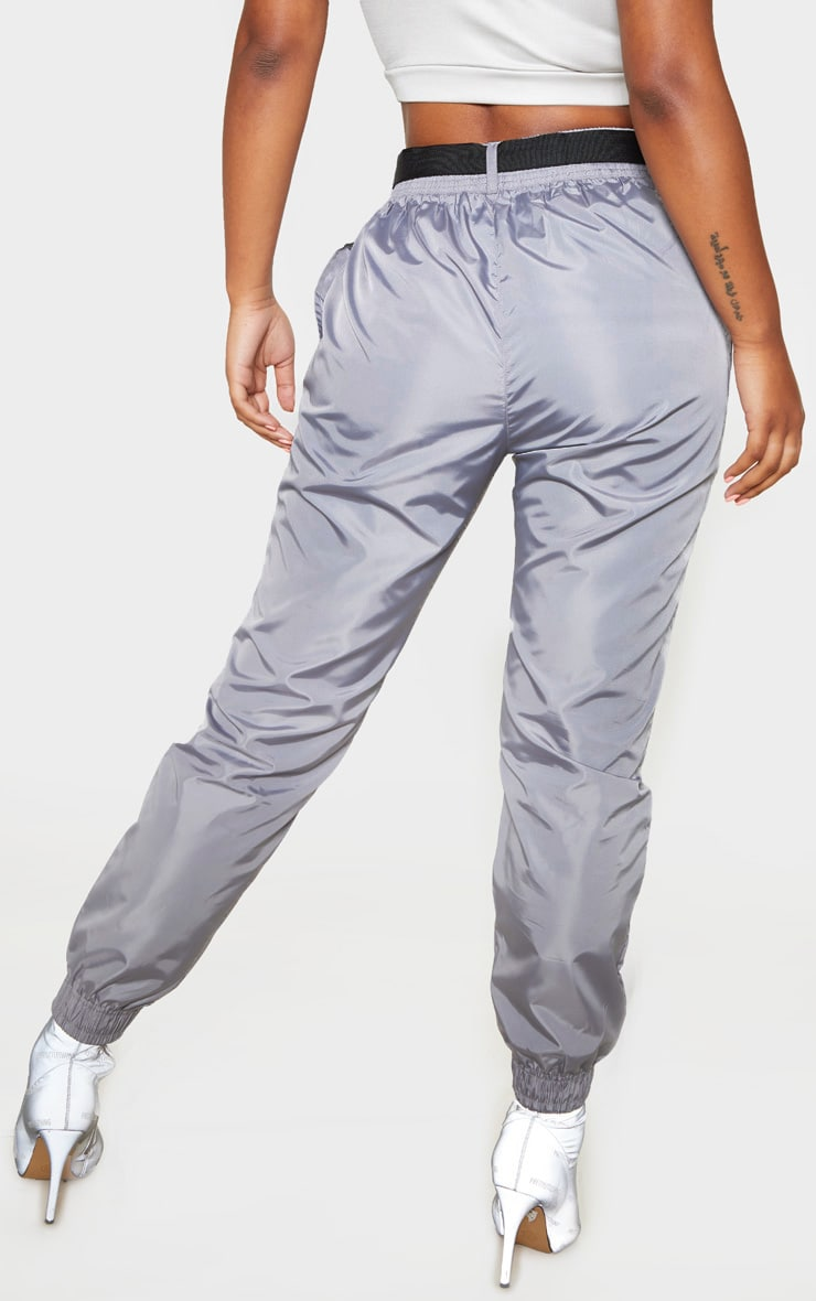 Grey Contrast Stitch Belted Shell Jogger 4